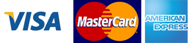 Accepted credit cards; VISA, MasterCard and Amex